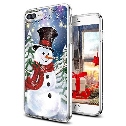 cocomong Christmas Case for iPhone 7 Plus iPhone 8 Plus 5.5' Cute Winter Snowman Design Soft TPU Protective Phone Case for iPhone Shockproof Anti-Scratch-Drop Merry for Women Men Girls