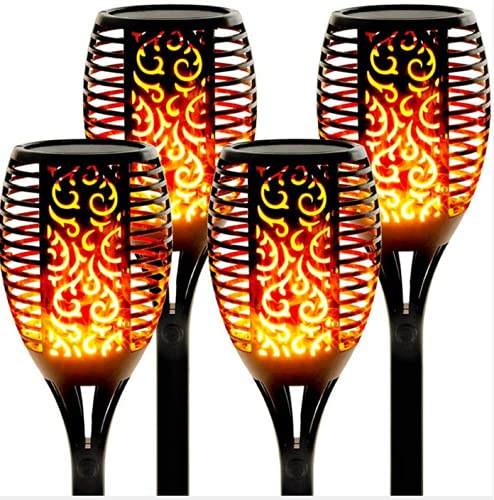 Luces de Llamas Jardin Solares, Swonuk 33 LED Luces Solares Exteriores con Llamas Danzantes Luces Solares para Cumpleaños Decoración, Fiesta de Bodas, Jardín, Patio Al Aire Libre(4 Pièces)