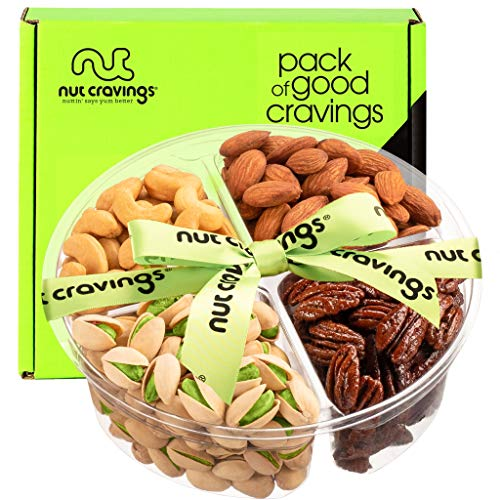 Valentines Day Gourmet Nut Gift Basket, Green Ribbon (4 Mix Tray) - Food Arrangement Platter, Care Package Variety, Prime Birthday Assortment, Healthy Kosher Snack Box for Families, Women, Men, Adults