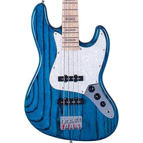 SX Bassgitarre im Jazz-Stil, durchscheinend, Blau über amerikanische Naturweiß