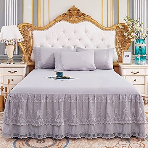 CXLT Light Luxury Bed Skirts Valances Double-layer Lace Embroidery Princess Bedspread Bed Sheets Bedroom Decoration Skin-friendly Fabric Bed Skirt 1PCS Mattress Protective Cover,Grey-Double:180x200cm