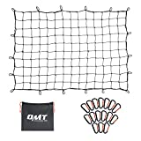 ORION MOTOR TECH Cargo Net for Pickup Truck Beds, 4x6 Truck Cargo Netting and Roof Rack Cargo Net Compatible with Ford Ram GMC Toyota Chevrolet 8x12 Max Cargo Netting with Handmade Knots 16 Carabiners