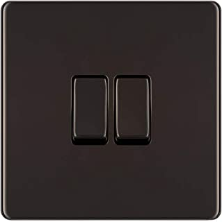 BG Electrical Screwless Flat Plate Double Light Switch, Black Nickel, 2-Way, 10AX