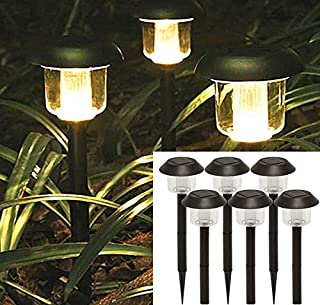 Solar Lights Outdoor Pathway Decorative Garden Large Black Bright White Warm LED Stake Light Set Landscape Lighting Stakes Waterproof Decorations Driveway Lamp for Walkway Outside Yard 6Pack