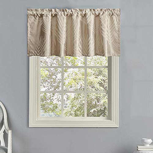 LEEVA Leaves Jacquard Curtains Valances for Living Room, Modern Thermal Insulated Classic Small Curtain Valance for Bathroom, One Panel, 52x18, Beige
