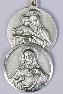 Scapular Medal Medaglione in argento Sterling Sacro cuore di Gesù, Nostra Signora del Carmelo