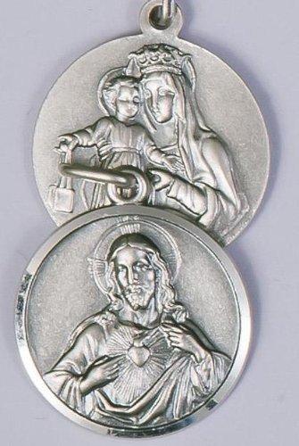 Escapulario medalla. Plata de Ley medalla. sagrado corazón de Jesús/Nuestra Señora De Mt. Carmel