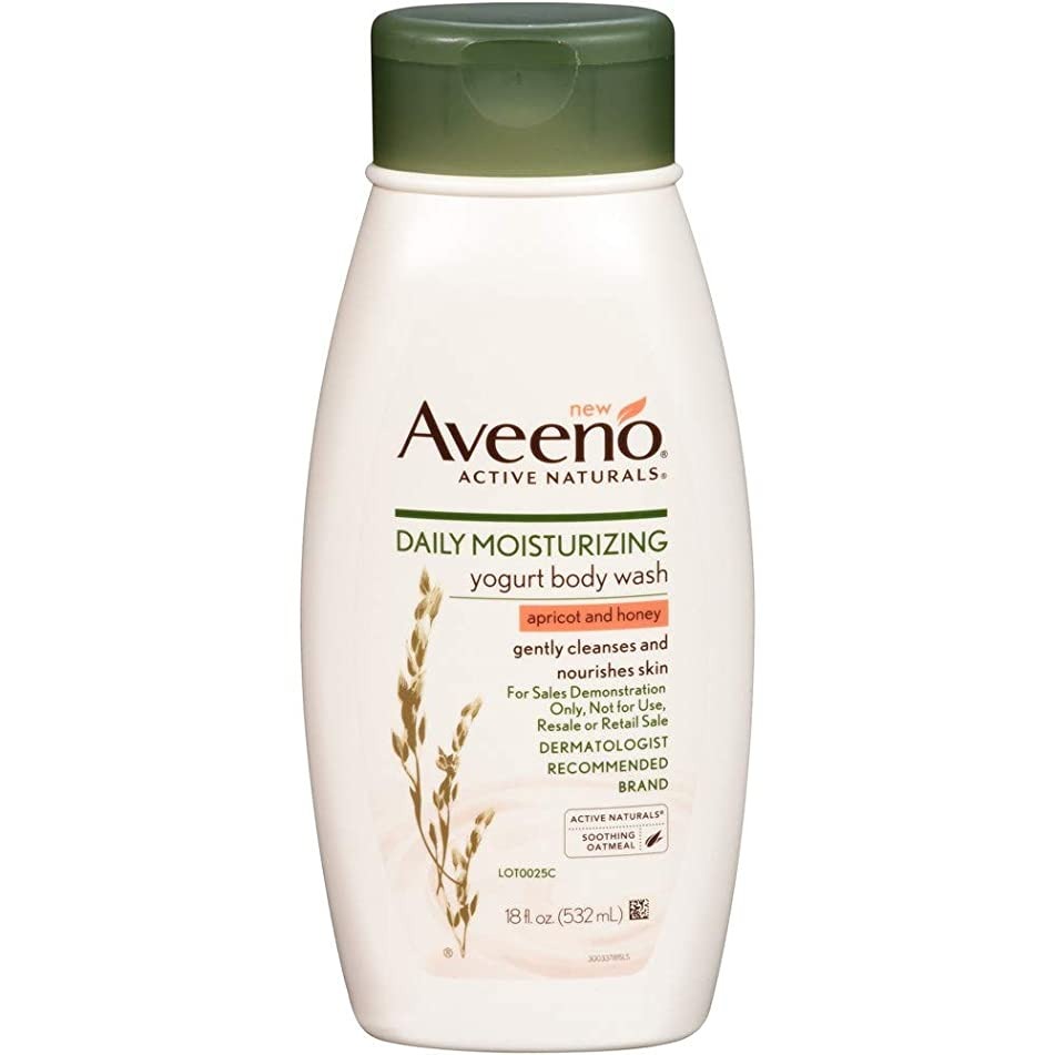 Aveeno Body Wash Yogurt Apricot & Honey 18 Ounce (532ml) (3 Pack)
