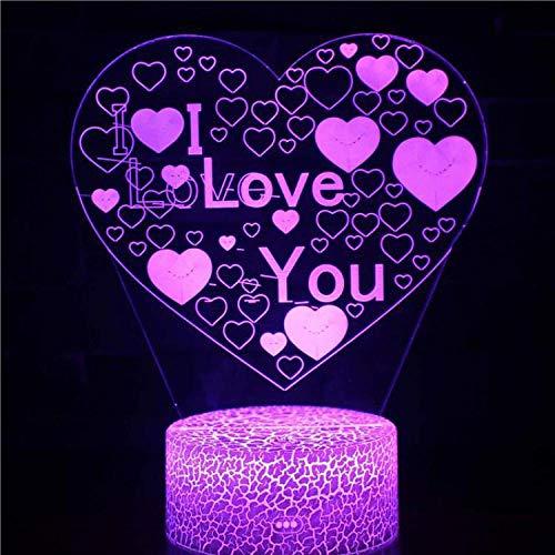Lámparas de mesa de noche en 3D para la sala de estar amasado corazón lámpara de noche de la cama de la cama y las mujeres cumpleaños creativo regalo escritorio lámpara-7 cambio de color_Interruptor