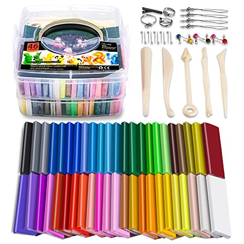 Polymer Clay, 46 Blocks Colored Modeling Clay DIY Soft Craft Clay Set with Sculpting Tools and Accessories in Storage Box, Kids Gift Set for Boys and Girls (Weight 3lb)