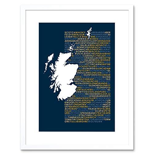 Wee blauwe Coo Scotch Whisky distilleerderijen kaart ingelijst muur kunst afdrukken 9X7