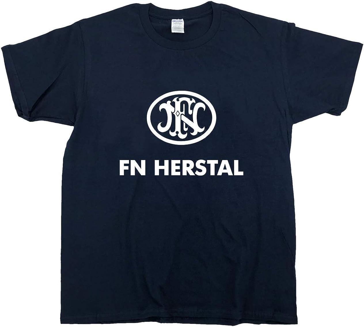 White T-shirt S-2XL NEW FN HERSTAL Firearms Guns Pistol Rifle Logo Men/'s Black