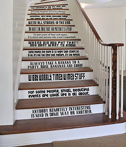 DIY-Decals Letters Wall Decor Stickers Quote Set Large Vinyl Wall Stairs Decal by ONE Liners Dr Who Inspired Tardis Dalek