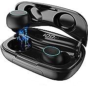 HETP Bluetooth Kopfhörer In Ear Kabellos Bluetooth Kopfhörer 3D Stereo Sound Ohrhörer mit Mikrofon, CVC 8.0 Noise Cancelling, Smart LCD Digitalanzeige, 120H Playtime, Bluetooth 5.0 Sport Kopfhörer