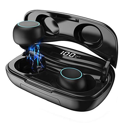 Actualizado Auriculares Bluetooth, Ekrist Auriculares Inalámbricos con Micrófonos, Bluetooth 5.0【Conexión Estable & 120H Tiempo de juego】3500mAh Caja de Carga para iPhone Android Samsung