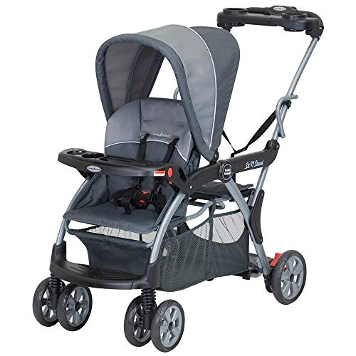 Cheapest Price! Sit N Stand Deluxe Tandem Stroller Rockridge Black Aluminum Includes Front Tray
