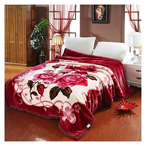 KJGHJ Franela Reversible Flores De Lujo De Doble Cara Roja del Otoño Invierno Gruesa Raschel Mantas Twin Queen Completa El Tamaño Combinado De Poliéster (Color : A, Size : 140X190cm)