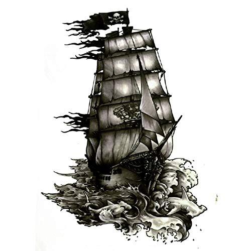 5pcs The Black Pearl Pirate Ship Waterproof Temporary Tattoos harajuku men Fake Tattoo sleeve Henna tatuajes temporales fishing