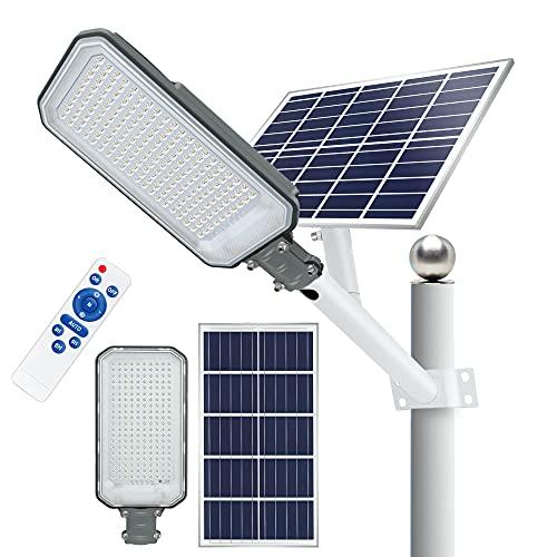 STASUN Solarbetriebene Straßenlampe, 400W Dämmerung bis Morgengrauen Solar Außenstrahler mit Fernbedienung, 6000K Tageslichtweiß, IP65 Wasserdichte LED Sicherheitsleuchte