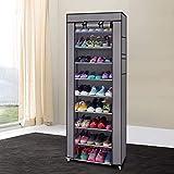 Wintue Shoe Rack, Fashionable Room-Saving 9 Lattices Non-Woven Fabric Shoe Rack Gray