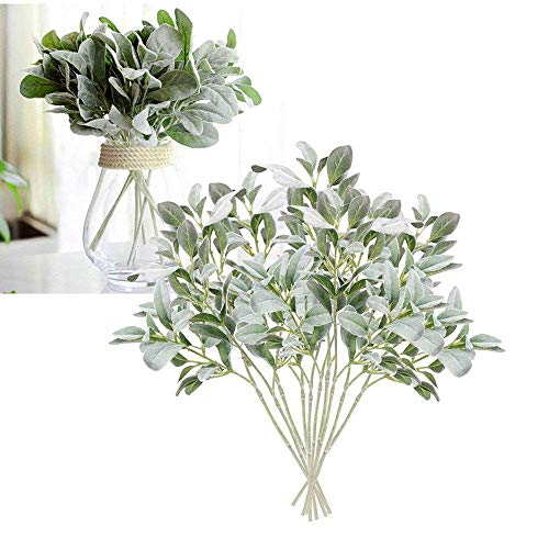 Fellibay Artificial Flowers Ears Plant Lamb's Ear Leaf Fake Greenery Flocked Rabbit Ear Leaf Wedding Bouquet Artificial Plants Green Leaf Floral Arrangement for Home Garden Office Decor (Green)