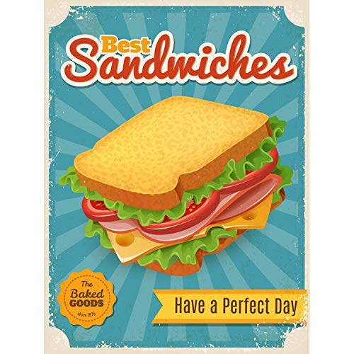 bar sandwiches Sandwiches Fast Food Metal Plate Retro Man Cave Tin Sign Vintage Wall Bar Shop Decor 12x8 inch