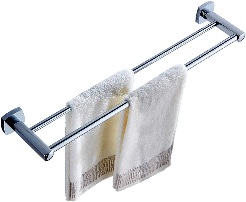Handtuchhalter Dusche Doppelter Badetuchhalter aus kupferdickendem Badezimmer mit Nagel ZHAOFENGE (Farbe   Silber, gre   100  13  5CM)