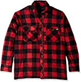 Dickies Men's Relaxed fit Micro Fleece Quilted Shirt Jacket, Cane red/Black Buffalo Check, M