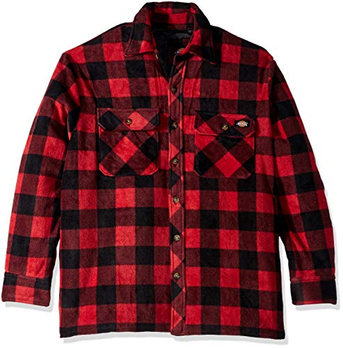 Dickies Men's Relaxed fit Micro Fleece Quilted Shirt Jacket, Cane red/Black Buffalo Check, 2X