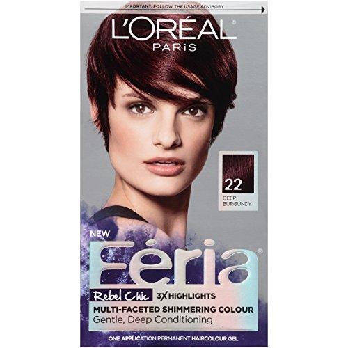 L'Oréal Paris Feria Permanent Hair Color, 22 Bordeaux Bombshell (Deep Burgundy)