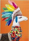 Kare Design Bild Touched Lama Chief, XXL Leinwandbild auf Keilrahmen, Wanddekoration mit Lama, bunt (H/B/T) 100x70x4cm