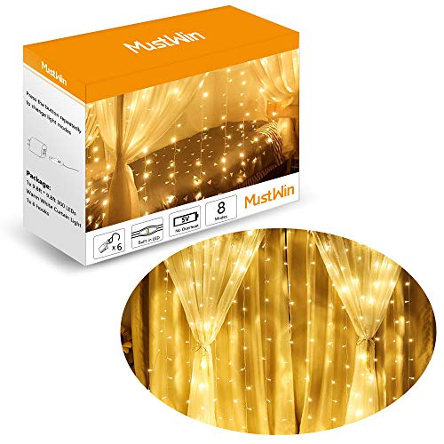 MustWin Twinkle Lights, USB Powered Window Curtain String Light, 300 LEDs, 8 Flashing Modes, Indoor Decorative LED Curtain Fairy String Wall Lights for Bedroom, Party, Wedding, Patio, Warm White