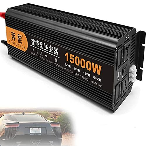 Inversor de corriente de onda sinusoidal pura de 15000 W convertidor de CC 12 V / 24 V a CA 230 V / 240 V con control remoto inalámbrico y salidas de CA dobles y USB para camión y coche,24V