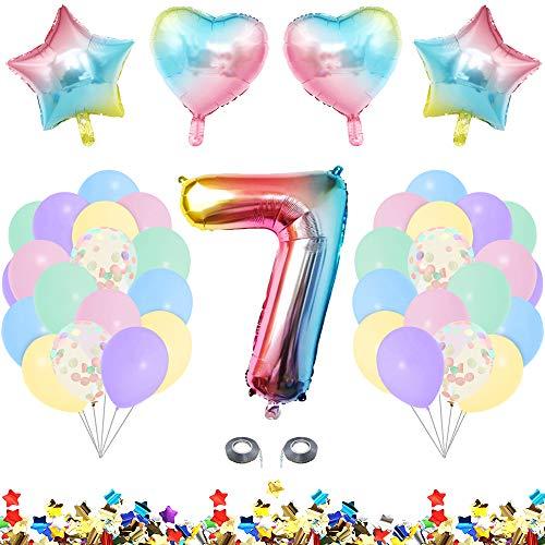 MMTX Globos de Cumpleaños 7 Año Fiesta Cumpleaños Niña 7 Año Decoracion Cumpleaños 7 Año con Globos Pastel, Globos Confeti, Aluminio Globo Numeros para Niña Decoracion Fiestas Bautizo Bebe