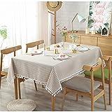 Mantel Simple A Rayas De Estilo Japonés, Mantel De Comedor Liso A Rayas con Flecos, Mantel Rectangular De Algodón Y Lino, Mantel De Comedor para Cocina