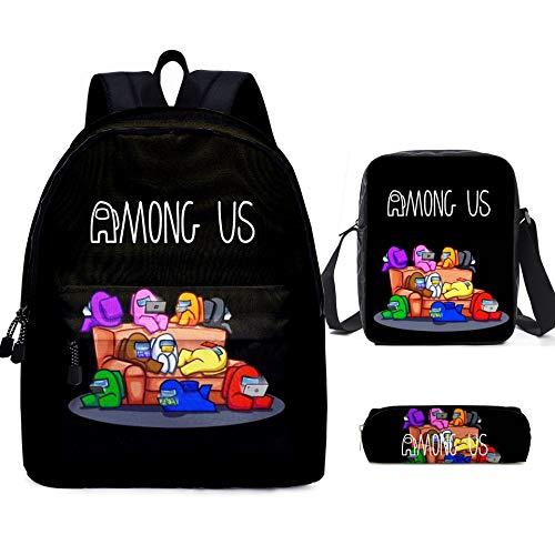3 Pièces Jeu Impression Sac à Dos GarçOns avec Sac à Lunch Trousse à Crayons Enfants Sacs D'école étudiant Bookbag pour Filles Adolescents Jeu Fans Cadeaux (C)