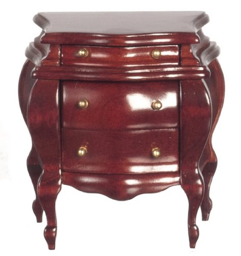Dollhouse Miniature Bombe Nightstand in Mahogany