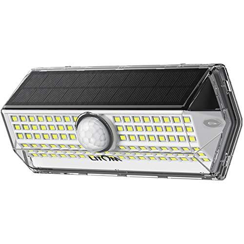 Luz Solar Exterior【Súper Brillante 4 modos】con Sensor de Movimiento, LITOM luces solares led exterior, IP67 Impermeable 100 LED Focos Led Exterior Solares Aplique Solar para Exterior Jardin (1 Pack)
