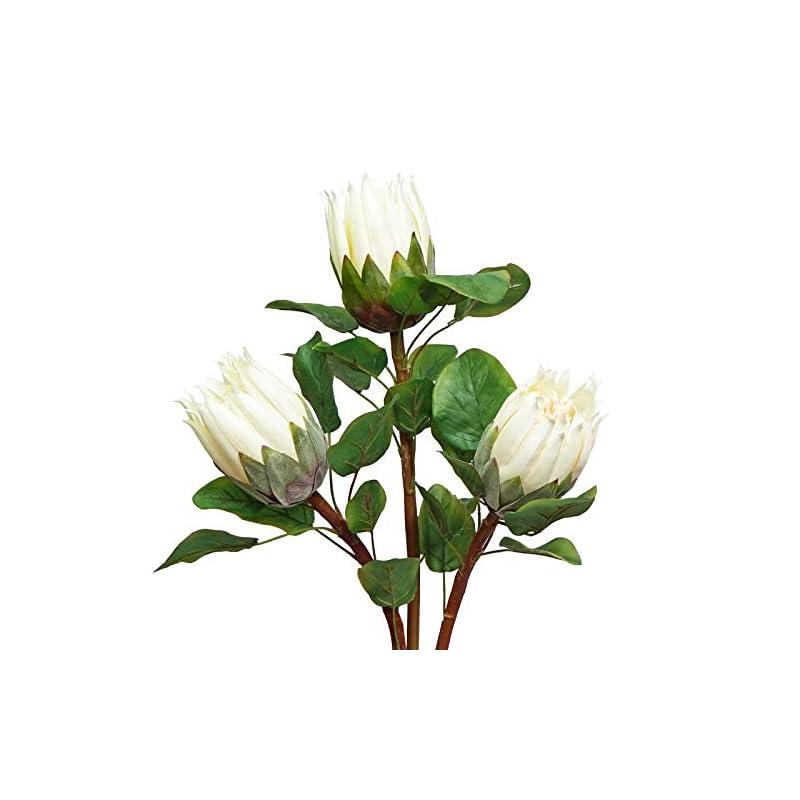 "silk flower arrangements minyulua artificial protea cynaroides king protea bouquet 26.8"" tall tropical flowers silk fake flower vase arrangement for wedding table centerpieces home decor"