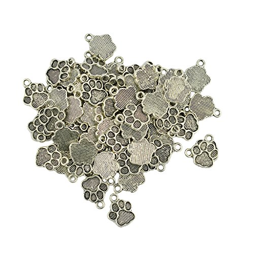 joyMerit 50pcs Alloy Puppy Paw Charms Dangles Pendants for Craft Jewelry Making Findings