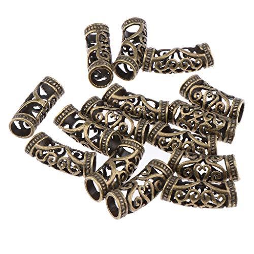 15pcs/Lot Dread Lock Beads Hair Rings Adjustable Hair Braid Cuff Clip - Brown, as described
