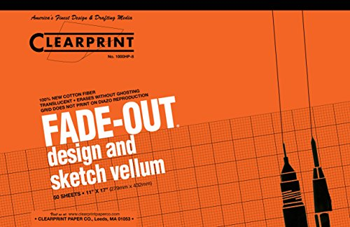 Clearprint Vellum Pad with 8x8 Fade-Out Grid, 11x17 Inches, 16 LB, 60 GSM, 1000H 100% Cotton, 50 Translucent White Sheets, 1 Each (10002416)