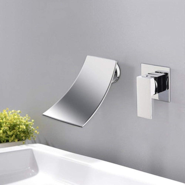 Waschtischarmatur Chrom Schwarz Messing Warm- und Kaltwasser Mischbatterie Einhand-Wandhalterung Para Waschbecken Waschen