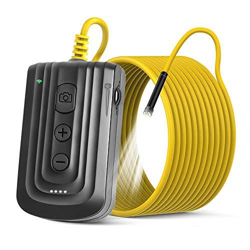 NEKAN WiFi Endoskop,Endoskopkamera,5.5mm 1080P Zoombares Autofokus Inspektionskamera mit 6 LEDs,USB-Ladung 2600mAh Akku IP67 Halbstarre Flexible kanalkamera für Android & iOS Smart Phone& Tablet-5M