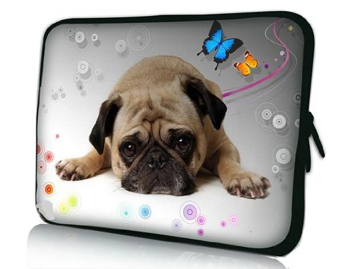 Pug Dog Universal 15' 15.4' 15.5' Neoprene Notebook Laptop Soft Sleeve Bag Cover Case for 15.6 Inch Acer Asus Compaq Dell Inspiron XPS Lenovo HP Samsung Toshiba Apple MacBook