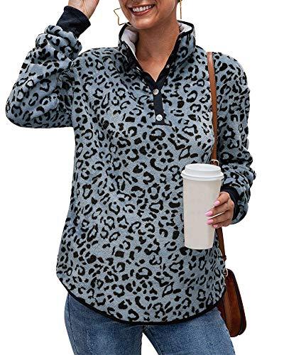 Womens Lightweight Warm Sherpa Fleece Buttons Animal Leopard Print Pullover Sweatshirt Blouse Tops Sweater with Pockets Gray