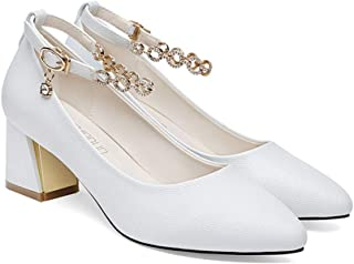 [ツネユウシューズ] アンクルストラップ ポインテッドトゥ 5.5cmヒール パンプス 痛くない チャンキーヒール 結婚式 脱げない 小さいサイズ スエード 靴 ストラップ ポインテッド 歩きやすい レディース 白 太ヒール ハイヒール 二次会
