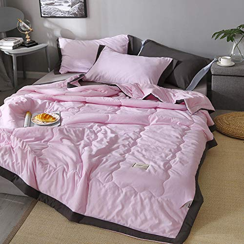 XNSY Blanket Solid color double summer thin quilt-200x230cm_Beauty powder