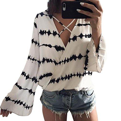 Fossen Mujer Blusa Camisa - Manga Larga - Rayas - Cruz de Banda - Gasa - Elegante y Moda (M, Blanco)