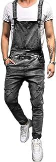 Shawnlen Men Denim Trousers Casual Retro Combat Cargo Bib Overalls Dungarees Stonewash Jeans Jumpsuits